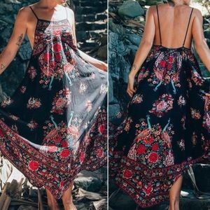 Strappy Floral MAXI Dress Beach Coverup Black